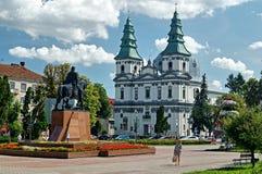 Ο καθεδρικός ναός αρχιεπισκοπής είναι το διασημότερο ορόσημο Ternopil στοκ φωτογραφία με δικαίωμα ελεύθερης χρήσης