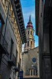 Ο καθεδρικός ναός του Savior ή του Λα Seo de Σαραγόσα είναι μια ρωμαϊκή γάτα Στοκ φωτογραφία με δικαίωμα ελεύθερης χρήσης