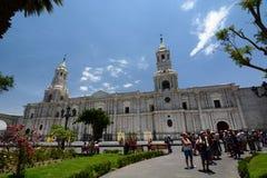 Ο καθεδρικός ναός βασιλικών armas de plaza αργεντινά Περού Στοκ Εικόνες
