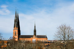 Ο καθεδρικός ναός στην Ουψάλα, Σουηδία, Ευρώπη, ενσωμάτωσε το 13ο αιώνα Στοκ φωτογραφία με δικαίωμα ελεύθερης χρήσης