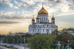 Ο καθεδρικός ναός Χριστού ο λυτρωτής στο ηλιοβασίλεμα Μόσχα Ρωσία Στοκ φωτογραφίες με δικαίωμα ελεύθερης χρήσης