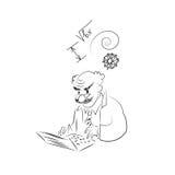 Ο καθηγητής εργάζεται στο lap-top Διανυσματικό σκίτσο Στοκ Φωτογραφίες