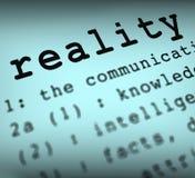 Ο καθορισμός πραγματικότητας παρουσιάζει τη βεβαιότητα και γεγονότα στοκ εικόνα