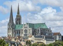 ο καθολικός κατάλογος γυναικείων ορόσημων κληρονομιάς του Chartres καθεδρικών ναών εμφάνισε λίστα παλαιός τον κόσμο της ΟΥΝΕΣΚΟ μ στοκ εικόνες