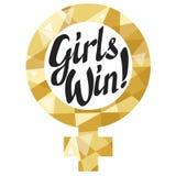 Ο καθρέφτης της Αφροδίτης με τα γράφοντας κορίτσια ` κερδίζει ` Διανυσματική απεικόνιση
