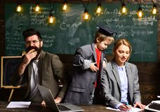 Ο καλός δάσκαλος απολαμβάνει Η ακαδημαϊκή επιτυχία είναι πολύ περισσότερο για τη σκληρή δουλειά από το εγγενές ταλέντο Πορτρέτο ε Στοκ Εικόνες