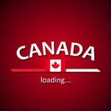 Ο Καναδάς φορτώνει - καναδικό πρότυπο φραγμών φόρτωσης επιγραφής σημαιών για τα ταξιδιωτικά γραφεία και γιορτάζει το ίδρυμα αυτού Στοκ φωτογραφία με δικαίωμα ελεύθερης χρήσης