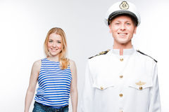 Ο καπετάνιος και η γυναίκα Στοκ Φωτογραφίες