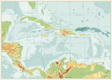 Ο καραϊβικός φυσικός χάρτης Αναδρομικά χρώματα κανένα κείμενο απεικόνιση αποθεμάτων