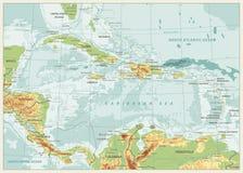 Ο καραϊβικός φυσικός χάρτης Αναδρομικά χρώματα ελεύθερη απεικόνιση δικαιώματος