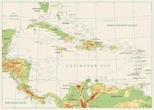 Ο καραϊβικός φυσικός χάρτης Απομονωμένος στο αναδρομικό άσπρο χρώμα απεικόνιση αποθεμάτων