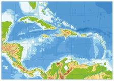 Ο καραϊβικός φυσικός χάρτης κανένα κείμενο διανυσματική απεικόνιση