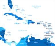Ο καραϊβικός χάρτης - διανυσματική απεικόνιση απεικόνιση αποθεμάτων