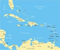 Ο καραϊβικός χάρτης - διανυσματική απεικόνιση διανυσματική απεικόνιση