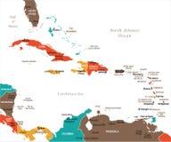 Ο καραϊβικός χάρτης - διανυσματική απεικόνιση ελεύθερη απεικόνιση δικαιώματος