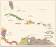 Ο καραϊβικός χάρτης - εκλεκτής ποιότητας διανυσματική απεικόνιση απεικόνιση αποθεμάτων