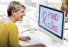 Ο καρκίνος του μαστού θεωρεί την έννοια ασθένειας γυναικών ελπίδας Στοκ Φωτογραφίες