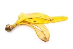 ο καρπός μπανανών ανασκόπησης απομόνωσε άσπρο κίτρινο φλούδας Στοκ Εικόνα