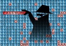 Ο κατάσκοπος κλέβει τον κωδικό πρόσβασης Στοκ φωτογραφία με δικαίωμα ελεύθερης χρήσης