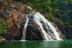 Ο καταρράκτης περνά τους βράχους και τις ροές στη λίμνη Ινδία, Dudhsagar Στοκ φωτογραφίες με δικαίωμα ελεύθερης χρήσης