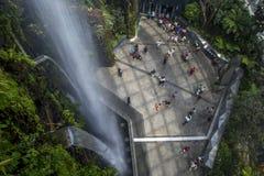 Ο καταρράκτης στο αίθριο τροπικών δασών στους κήπους από τον κόλπο στη Σιγκαπούρη Στοκ εικόνες με δικαίωμα ελεύθερης χρήσης