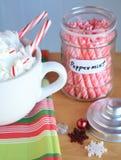 Ο καυτός κοκοφοίνικας Mocca με peppermint κολλά τις νιφάδες βάζων και χιονιού Στοκ φωτογραφίες με δικαίωμα ελεύθερης χρήσης