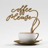 Ο καφές παρακαλώ αναφέρει με το φλυτζάνι, αφίσα τυπογραφίας Στοκ Φωτογραφίες