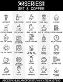 Ο καφές προσθέτει τα εικονίδια τσαγιού Στοκ Εικόνες