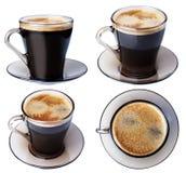 Ο καφές Espresso σε ένα πιάτο γυαλιού, απομονώνει σε ένα άσπρο υπόβαθρο, Στοκ Φωτογραφίες
