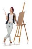 Ο καλλιτέχνης γυναικών που απομονώνεται στο λευκό Στοκ εικόνες με δικαίωμα ελεύθερης χρήσης