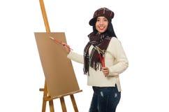Ο καλλιτέχνης γυναικών που απομονώνεται στο λευκό Στοκ Φωτογραφία
