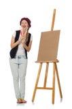 Ο καλλιτέχνης γυναικών στο λευκό στοκ φωτογραφία