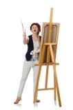 Ο καλλιτέχνης γυναικών στο λευκό στοκ φωτογραφία με δικαίωμα ελεύθερης χρήσης