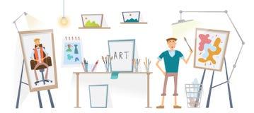 Ο καλλιτέχνης που εργάζεται στο στούντιό του Το άτομο με τη βούρτσα που στέκεται easel επίσης corel σύρετε το διάνυσμα απεικόνιση διανυσματική απεικόνιση