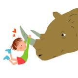 Ο καλύτερος φίλος μου είναι ένας ρινόκερος Στοκ Εικόνες