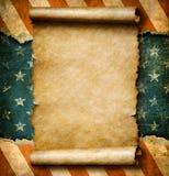 Ο κενή κύλινδρος ή η περγαμηνή εγγράφου Grunge άνω των ΗΠΑ σημαιοστολίζει την τρισδιάστατη απεικόνιση προτύπων ημέρας της ανεξαρτ απεικόνιση αποθεμάτων