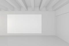 Ο κενός άσπρος πίνακας διαφημίσεων στο κενό δωμάτιο με τα μεγάλα παράθυρα, χλευάζει επάνω, τρισδιάστατη απόδοση ελεύθερη απεικόνιση δικαιώματος