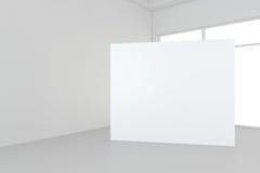 Ο κενός άσπρος πίνακας διαφημίσεων στο κενό δωμάτιο με τα μεγάλα παράθυρα, χλευάζει επάνω, τρισδιάστατη απόδοση διανυσματική απεικόνιση
