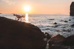 Ο κηφήνας στον ουρανό ηλιοβασιλέματος τα ωκεάνια βουνά κυμάτων κλείνουν επάνω του quadrocopter υπαίθρια έννοια για γαμήλιο videog στοκ εικόνα