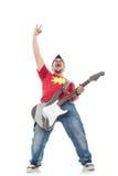 Ο κιθαρίστας κλίνει πίσω και κραυγάζει Στοκ φωτογραφία με δικαίωμα ελεύθερης χρήσης