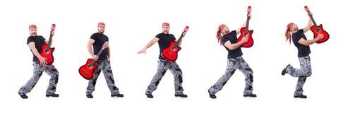 Ο κιθαρίστας που απομονώνεται στο λευκό στοκ εικόνα με δικαίωμα ελεύθερης χρήσης
