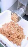 Ο κιμάς χοιρινού κρέατος προέρχεται από μια κρεατομηχανή Στοκ εικόνα με δικαίωμα ελεύθερης χρήσης