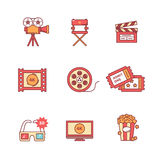 Ο κινηματογράφος, η ταινία και τα τηλεοπτικά εικονίδια λεπταίνουν το σύνολο γραμμών Στοκ Εικόνες