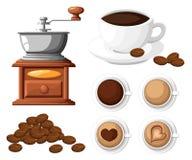 Ο κλασικός μύλος καφέ με μια δέσμη του χειρωνακτικού μύλου καφέ φασολιών καφέ και ένα φλιτζάνι του καφέ κοιλαίνουν τη διανυσματικ Στοκ Εικόνα