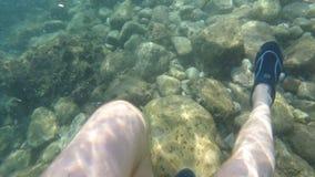 Ο κολυμβητής που περπατά τις υποβρύχιες ακτίνες ήλιων δυτών ποτίζει την τροπική ελευθερία χαλάρωσης διακοπών διακοπών θέσης φιλμ μικρού μήκους