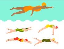 Ο κολυμπώντας διανυσματικοί άνδρας και η γυναίκα κολυμβητών σχεδίου ύφους ανθρώπων διαφορετικοί στον αθλητισμό λιμνών θέτουν την  Στοκ εικόνες με δικαίωμα ελεύθερης χρήσης