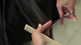 Ο κομμωτής κάνει ένα hairstyle για μια γυναίκα Κινηματογράφηση σε πρώτο πλάνο κουρέματος Ψαλίδι και χτένα στην όμορφη τρίχα στιλί απόθεμα βίντεο