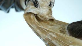 Ο κομμωτής κάνει hairstyle, χρωστική ουσία για έναν έφηβο σε ένα σαλόνι ομορφιάς Τρίχα που καλύπτεται στη χρωστική ουσία o απόθεμα βίντεο