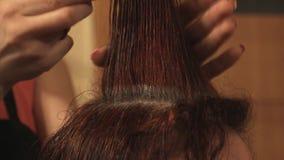 Ο κομμωτής που κάνει ένα hairstyle της γυναίκας είχε 2 απόθεμα βίντεο