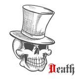 Ο κομψός κύριος skull στο εκλεκτής ποιότητας τοπ σκίτσο καπέλων Στοκ Φωτογραφία